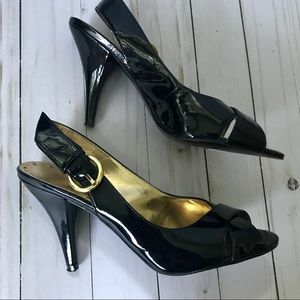 BCBGirls Black Patent Leather Heeled Sandals